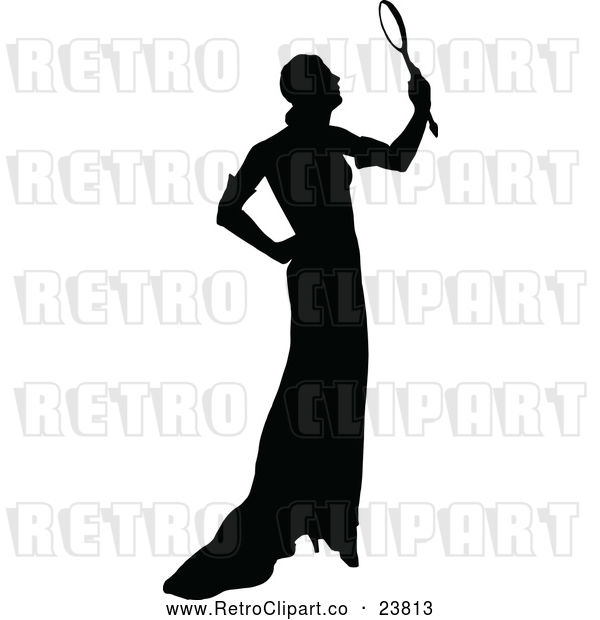 Vector Clip Art of Retro Silhouetted Woman Holding a Mirror