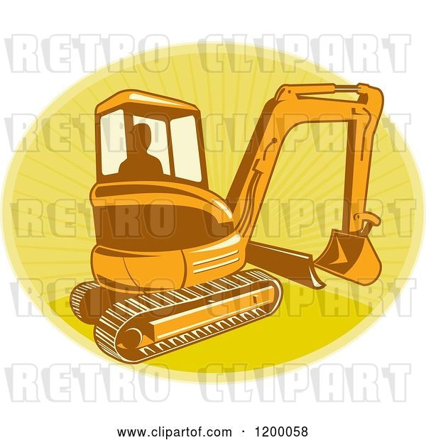 Vector Clip Art of Retro Silhouetted Worker Operating a Digger Excavator Machine over a Yellow Oval of Rays