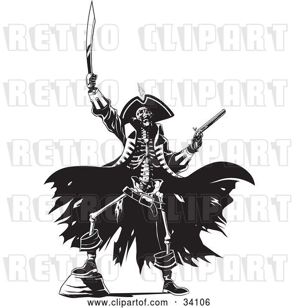 Vector Clip Art of Retro Skeleton Pirate Raising Hell, One Foot up on a Rock, Holding a Sword and Pistil