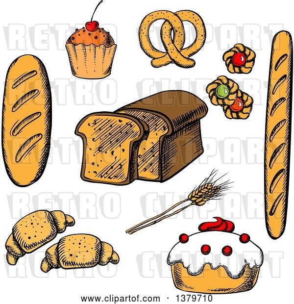 Vector Clip Art of Retro Sketched Bread and Pastries