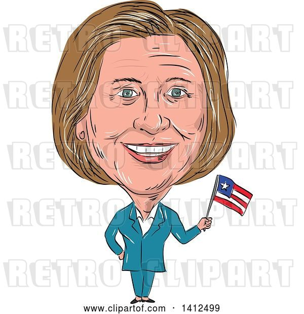 Vector Clip Art of Retro Sketched Caricature of Hillary Clinton Holding a Flag