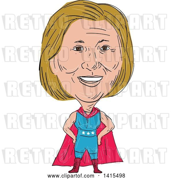 Vector Clip Art of Retro Sketched Caricature of Hillary Clinton in a Super Hero, Wrestler or Luchero Cape