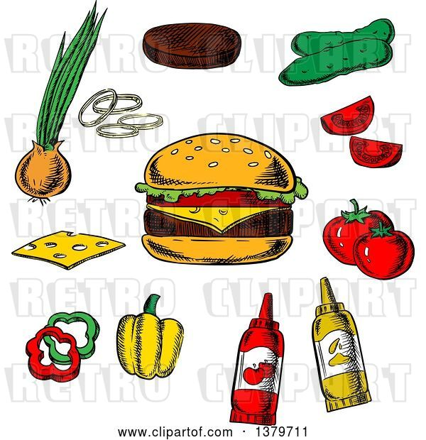 Vector Clip Art of Retro Sketched Cheeseburger and Ingredients