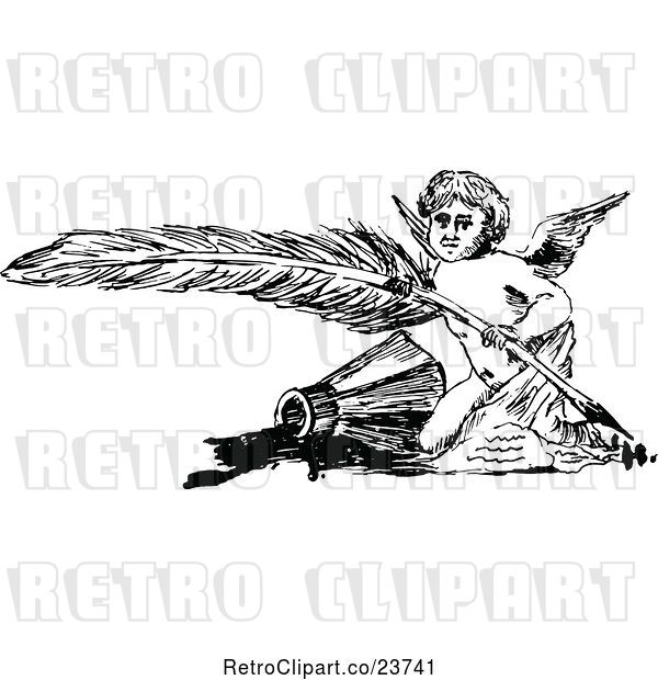 Vector Clip Art of Retro Sketched Cherub with a Feather Quill