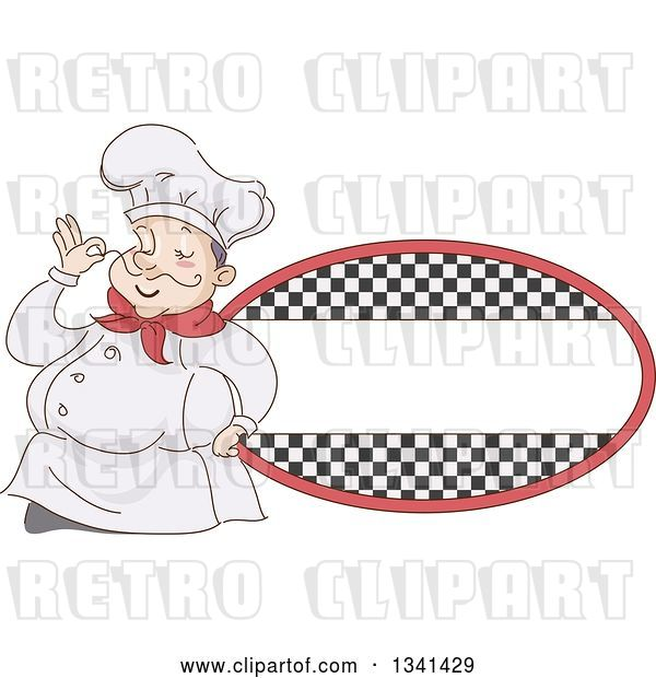 Vector Clip Art of Retro Sketched Chubby White Male Chef Touching the Tip of His Mustache by a Checkered Oval Label