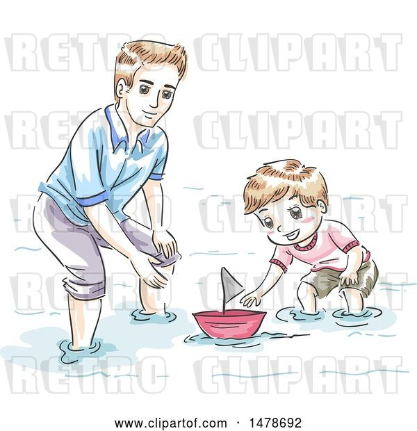 Vector Clip Art of Retro Sketched Dad and Son Playing with a Boat