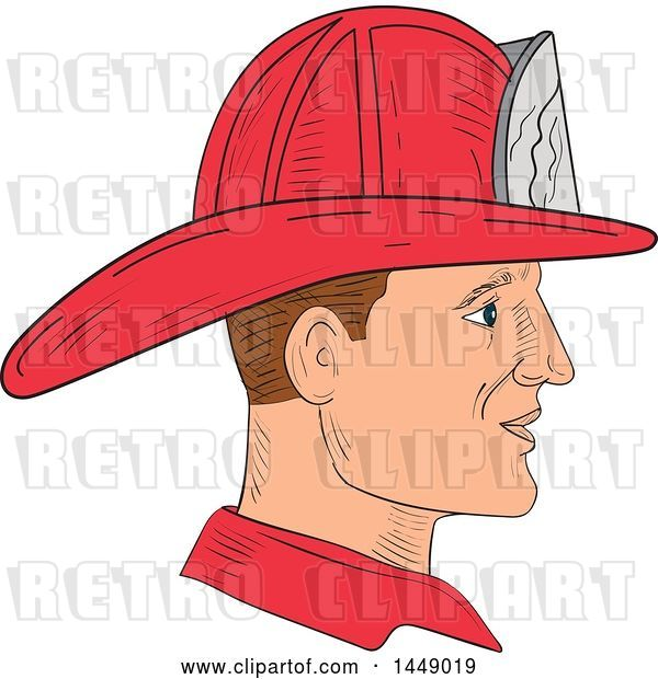 Vector Clip Art of Retro Sketched Fire Fighter Wearing a Helmet in Profile