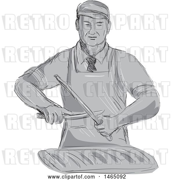 Vector Clip Art of Retro Sketched Grayscale Butcher Sharpening a Knife over a Cut of Meat