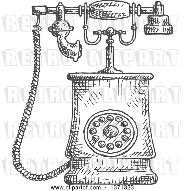 Vector Clip Art of Retro Sketched Grayscale Telephone