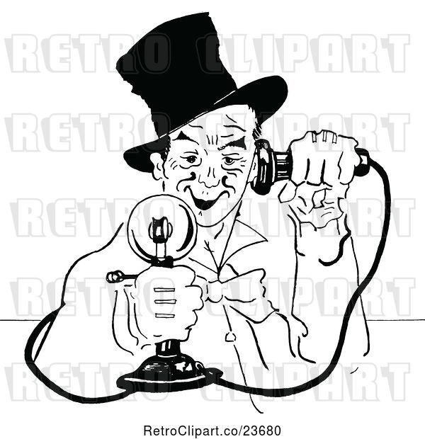 Vector Clip Art of Retro Sketched Guy Using a Candlestick Phone