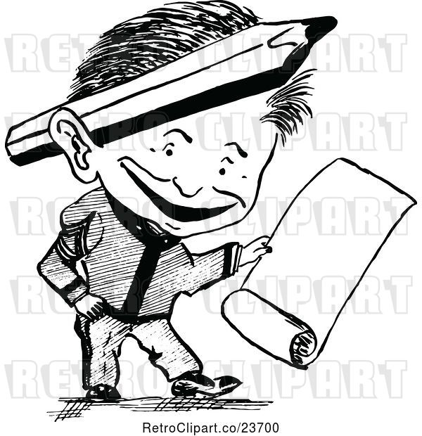 Vector Clip Art of Retro Sketched Guy with a Scroll