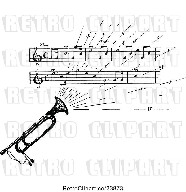 Vector Clip Art of Retro Sketched Instrument with Sheet Music