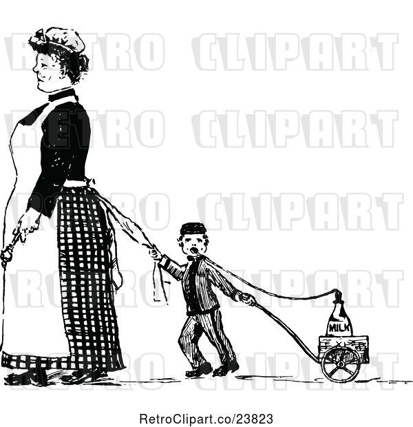 Vector Clip Art of Retro Sketched Maid and Boy Pulling a Milk Wagon