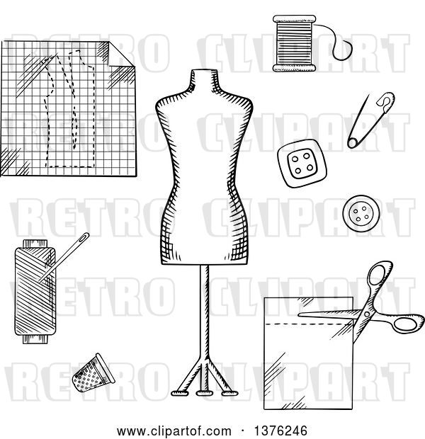 Vector Clip Art of Retro Sketched Mannequin, Scissors, Safety Pin, Needle, Threads, Buttons, Thimble, Fabric and Paper Drawing