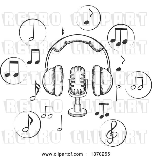 Vector Clip Art of Retro Sketched Microphone and Earphones Surrounded by Circular Icons with Music Notes