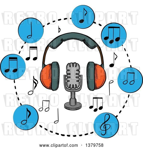 Vector Clip Art of Retro Sketched Microphone, Headphones and Music Notes