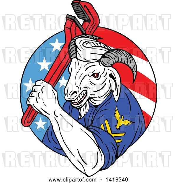 Vector Clip Art of Retro Sketched Navy Goat Guy Holding Pipe Monkey Wrench in an American Circle