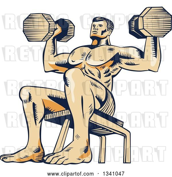 Vector Clip Art of Retro Sketched or Engraved Bodybuilder Sitting on a Bench and Doing Shoulder Presses with Dumbbells