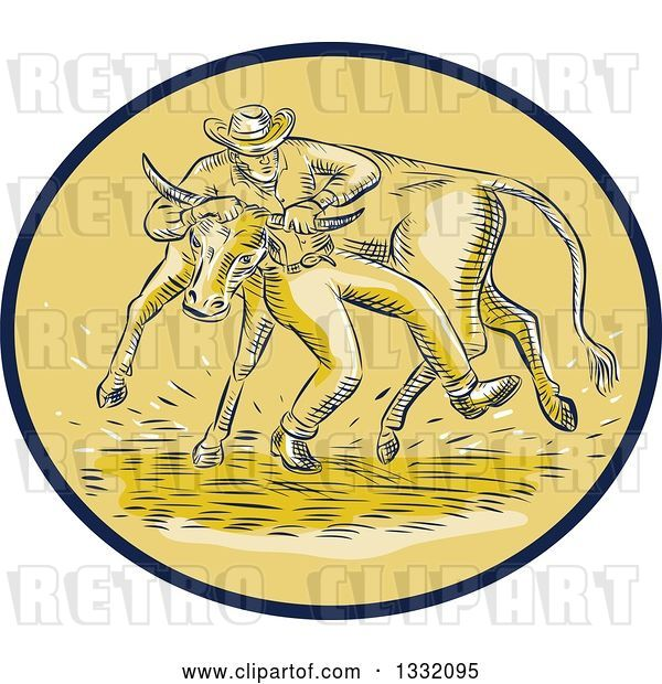Vector Clip Art of Retro Sketched or Engraved Cowboy Wrestling a Bull in a Brown and Tan Oval