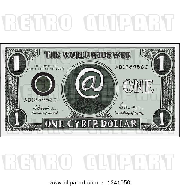 Vector Clip Art of Retro Sketched or Engraved Cyber Dollar Bill
