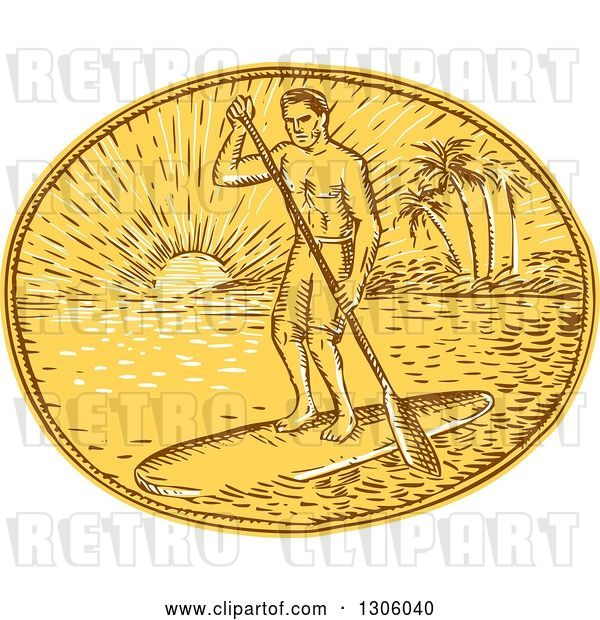 Vector Clip Art of Retro Sketched or Engraved Guy Paddle Boarding Against a Tropical Island and Sunset in an Oval