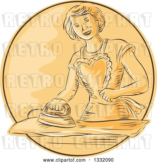 Vector Clip Art of Retro Sketched or Engraved Happy Housewife Wearing an Apron and Ironing Laundry in an Orange Circle