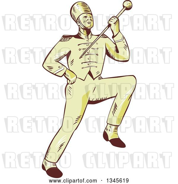 Vector Clip Art of Retro Sketched or Engraved Marching Band Drum Major Holding up a Baton