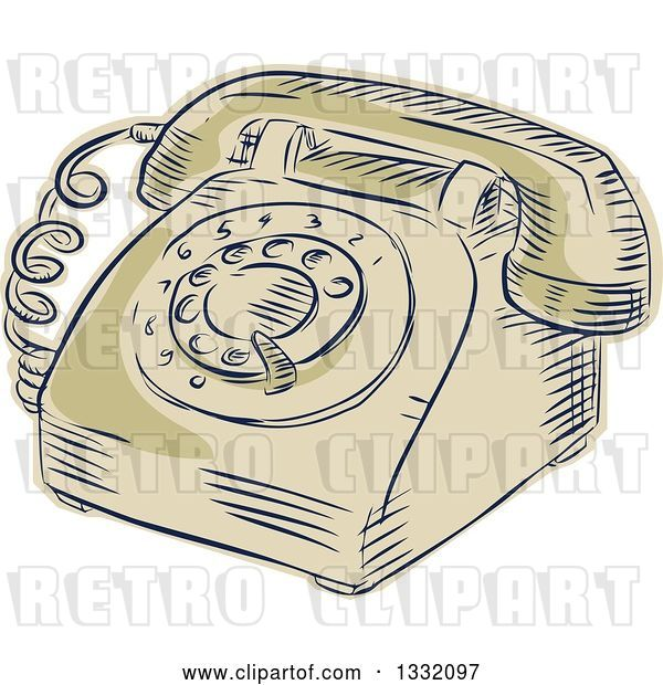 Vector Clip Art of Retro Sketched or Engraved Table Top Rotary Telephone