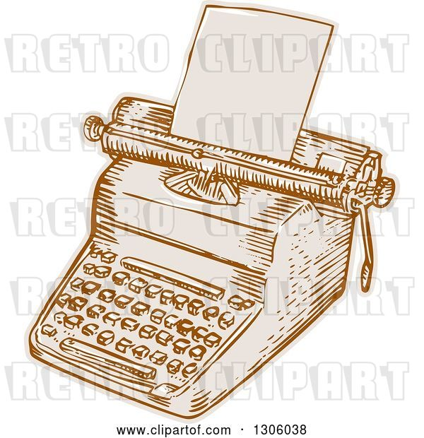 Vector Clip Art of Retro Sketched or Engraved Typewriter with Paper Loaded