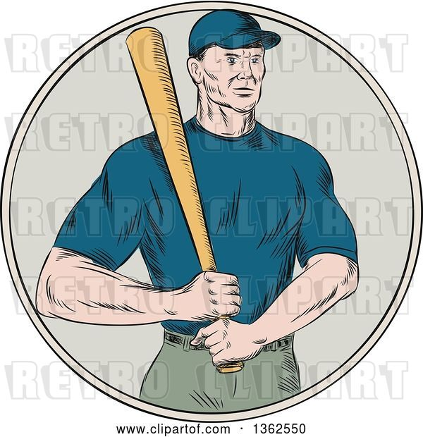 Vector Clip Art of Retro Sketched or Engraved White Male Baseball Player Holding a Bat in a Circle