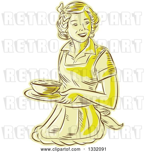 Vector Clip Art of Retro Sketched or Engraved Yellow Housewife or Waitress Wearing an Apron and Serving a Bowl of Food