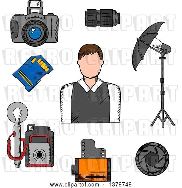 Vector Clip Art of Retro Sketched Photographer and Accessories