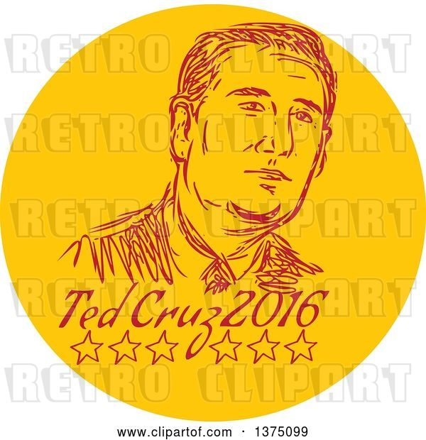 Vector Clip Art of Retro Sketched Portrait of Ted Cruz, Republican Residential Candidate, in a Circle over Text