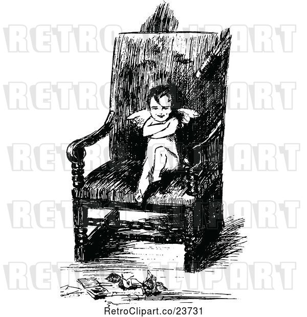 Vector Clip Art of Retro Sketched Pouting Cupid in a Chair