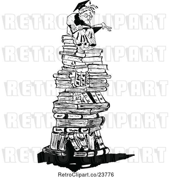 Vector Clip Art of Retro Sketched Professor on a Pile of Books