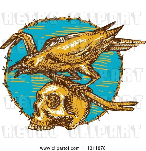 Vector Clip Art of Retro Sketched Raven with a Crow Bar on Top of a Skull in a Barbed Wire Circle