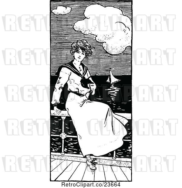 Vector Clip Art of Retro Sketched Sailor Lady Watching Boats