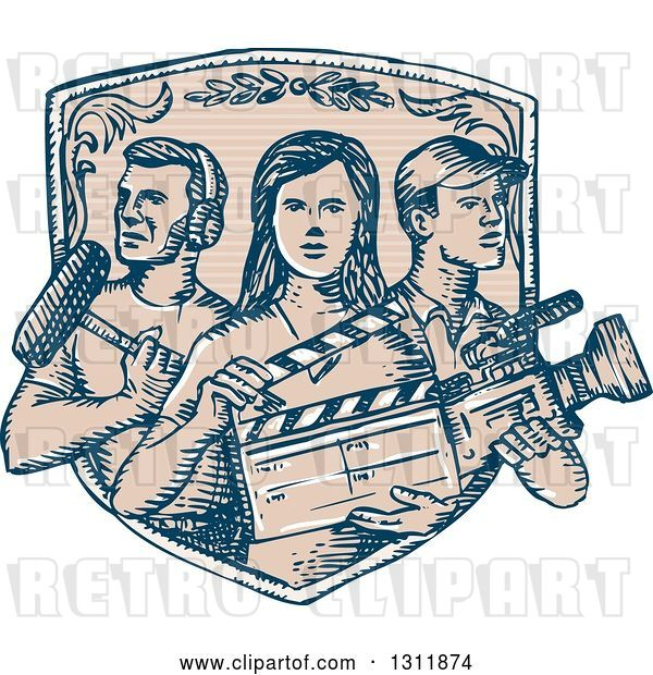 Vector Clip Art of Retro Sketched Shield with Film Crew Workers