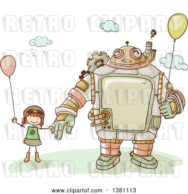 Vector Clip Art of Retro Sketched Steampunk Robot and Stick Girl Holding Balloons