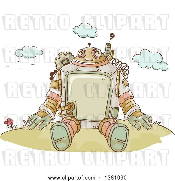 Vector Clip Art of Retro Sketched Steampunk Robot Sitting Outdoors