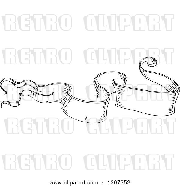 Vector Clip Art of Retro Sketched Styled Blank Ribbon Banner 13