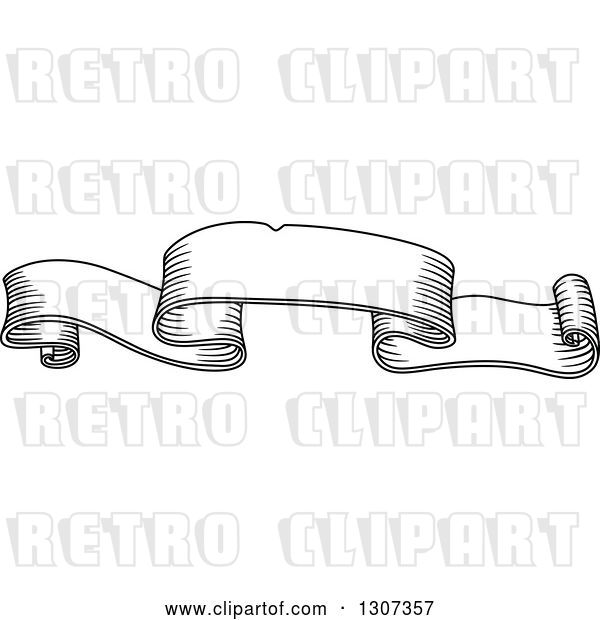 Vector Clip Art of Retro Sketched Styled Blank Ribbon Banner 5