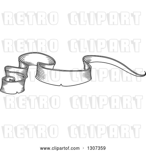 Vector Clip Art of Retro Sketched Styled Blank Ribbon Banner 7