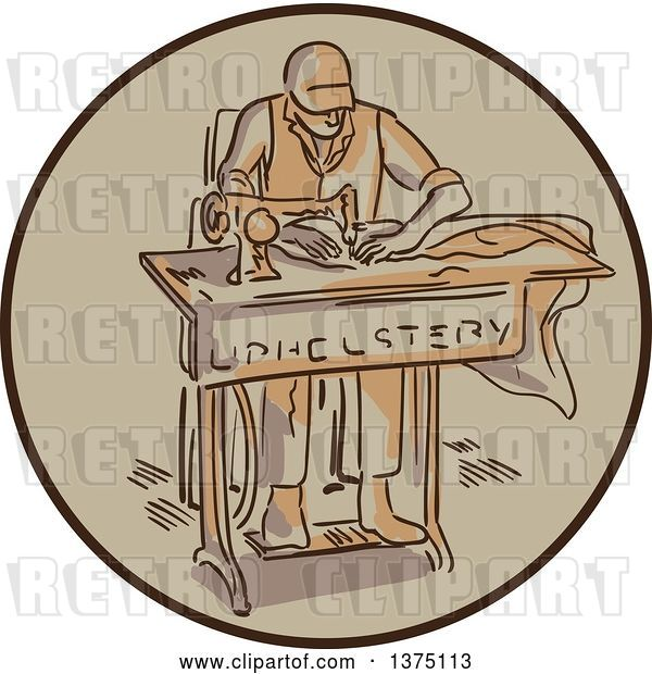 Vector Clip Art of Retro Sketched Tailor Machinist Upholsterer Using a Sewing Machine Inside a Circle