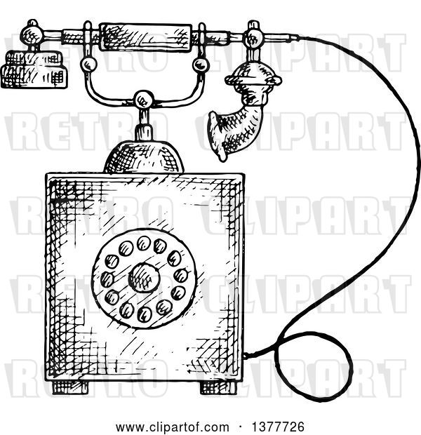 Vector Clip Art of Retro Sketched Telephone