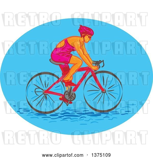 Vector Clip Art of Retro Sketched White Female Cyclist in a Blue Oval