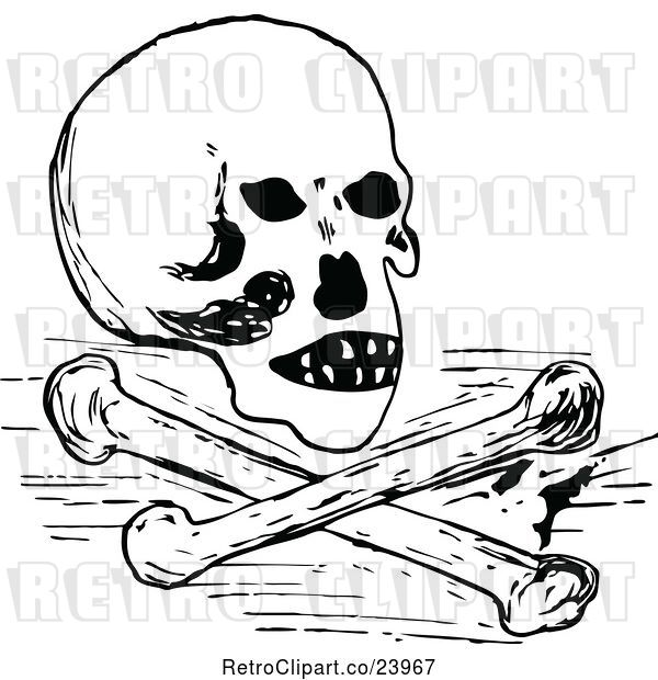 Vector Clip Art of Retro Skull and Cross Bones