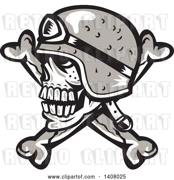 Vector Clip Art of Retro Skull and Crossbones with a Biker Helmet