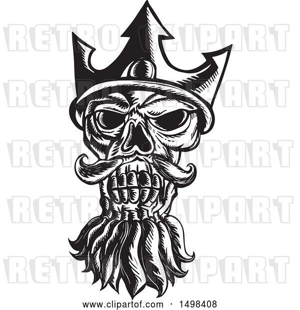 Vector Clip Art of Retro Skull of Neptune in