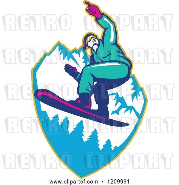 Vector Clip Art of Retro Snowboarder Catching Air over Mountains